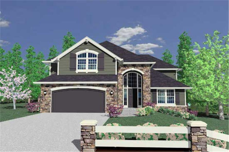 This is the front rendering for these Traditional House Plans.