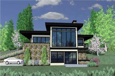 1-Bedroom, 1887 Sq Ft Contemporary House Plan - 149-1187 - Front Exterior