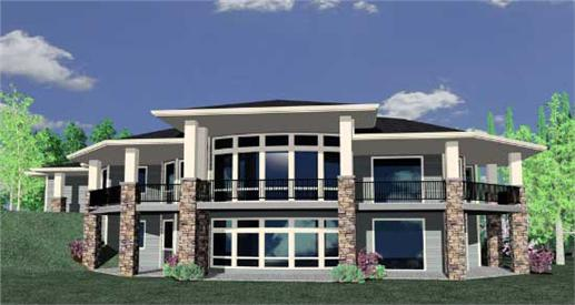 This is a 3D computerized rendering for these Prairie House Plans.