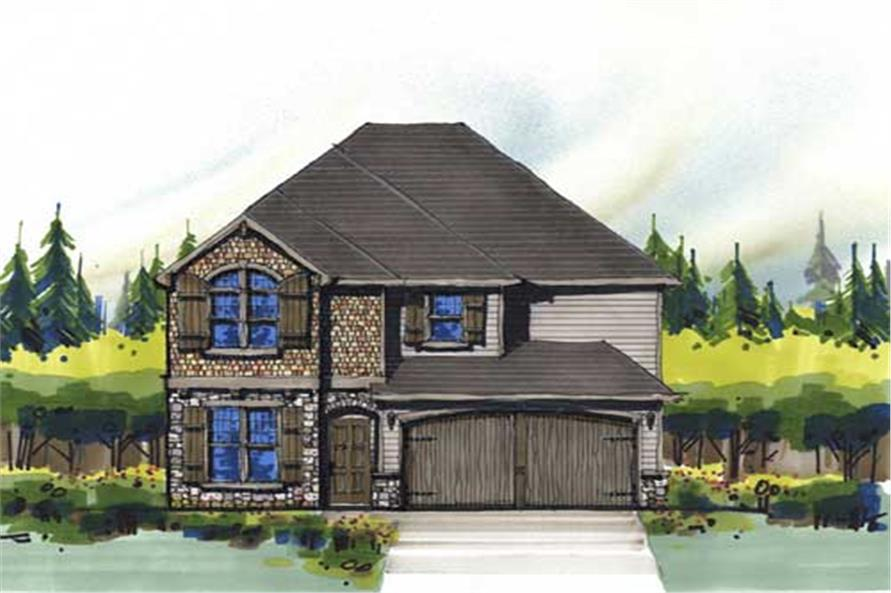 This is the front elevation for these French European House Plans.