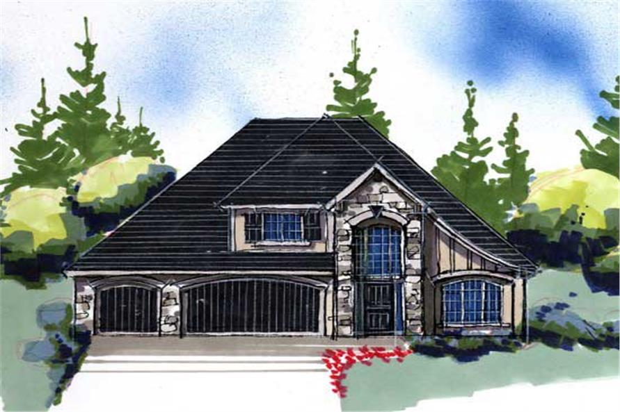 This is an artist's rendering of these French Country House Plans.