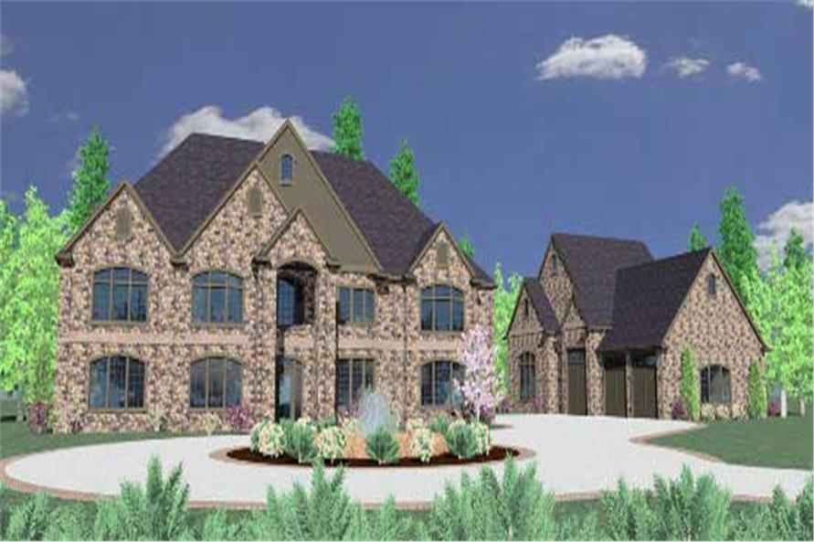 This is the front elevation for these Luxury Home Plans.