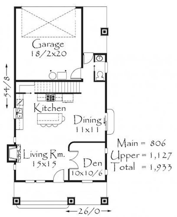 This image shows the living and dining areas along with the garage.