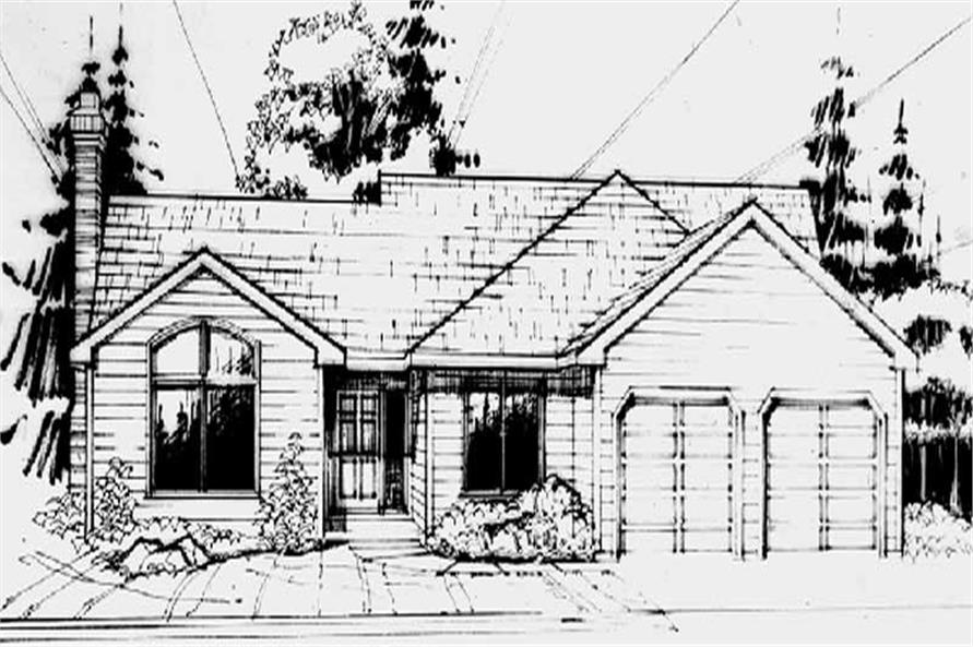 Main Elevation of this 3-Bedroom,1444 Sq Ft Plan -1444