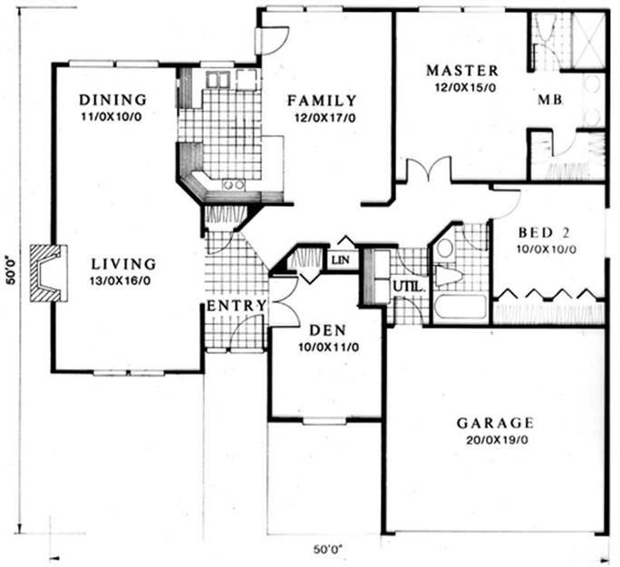 Feng Shui Home Plan - 3 Bedrms, 1.5 Baths - 1444 Sq Ft - #149-1229