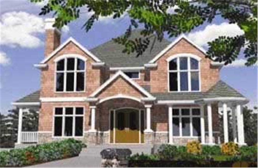 European house plans M-4910 color rendering.