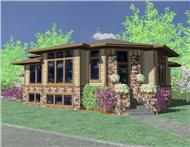 This is the front elevation of these Contemporary Prairie House Plans