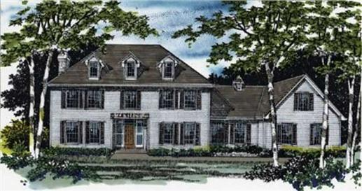 Colonial Home Plans M-3461 color front elevation.