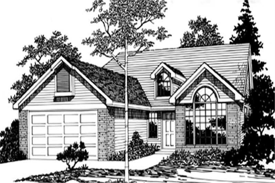 Main Elevation of this 3-Bedroom,1500 Sq Ft Plan -1500