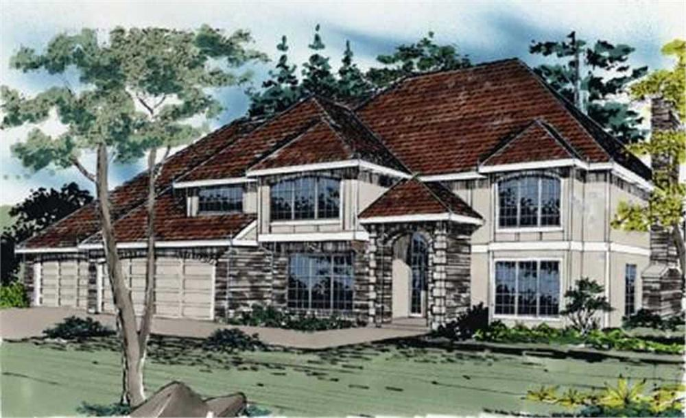European homeplans M-3733 color rendering.