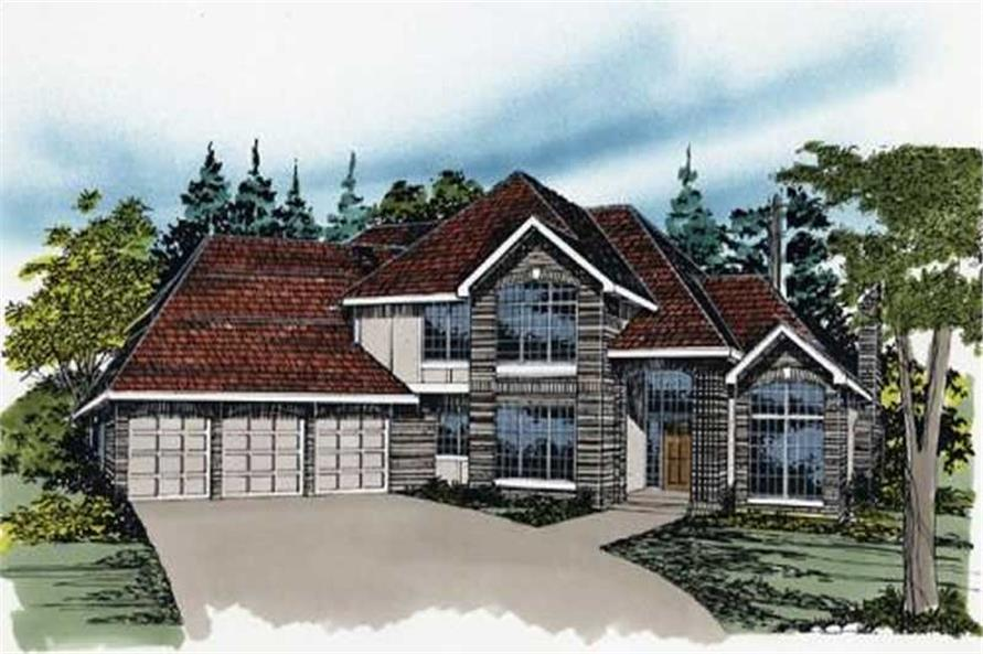 4-Bedroom, 3646 Sq Ft Colonial Home Plan - 149-1343 - Main Exterior