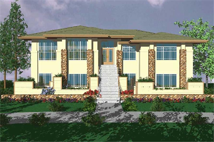 Prairie Houseplans msap3849 color front elevation.