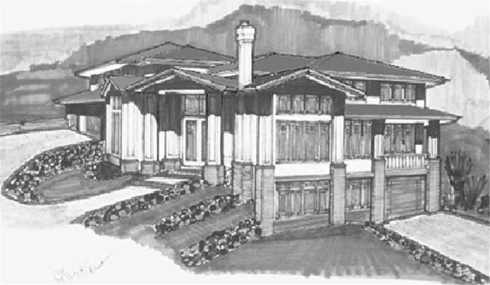 Prairie House Plans MSAP-4533G rendering.
