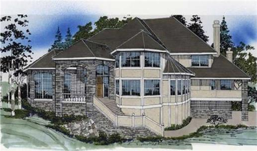 Contemporary plans color front rendering.