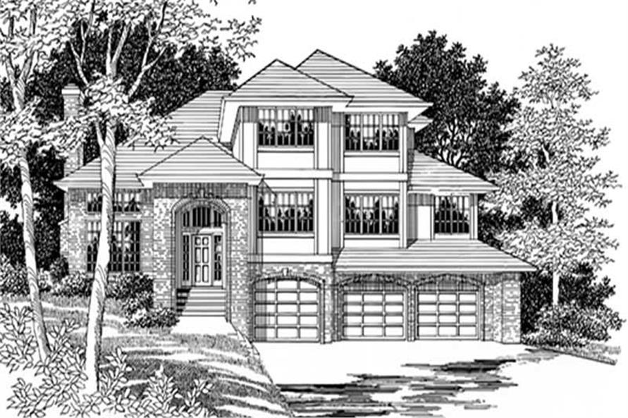 Main Elevation of this 4-Bedroom,2977 Sq Ft Plan -2977