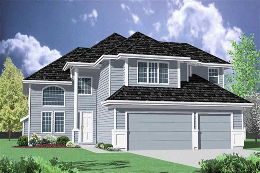 4-Bedroom, 2740 Sq Ft Transitional Home Plan - 149-1401 - Main Exterior