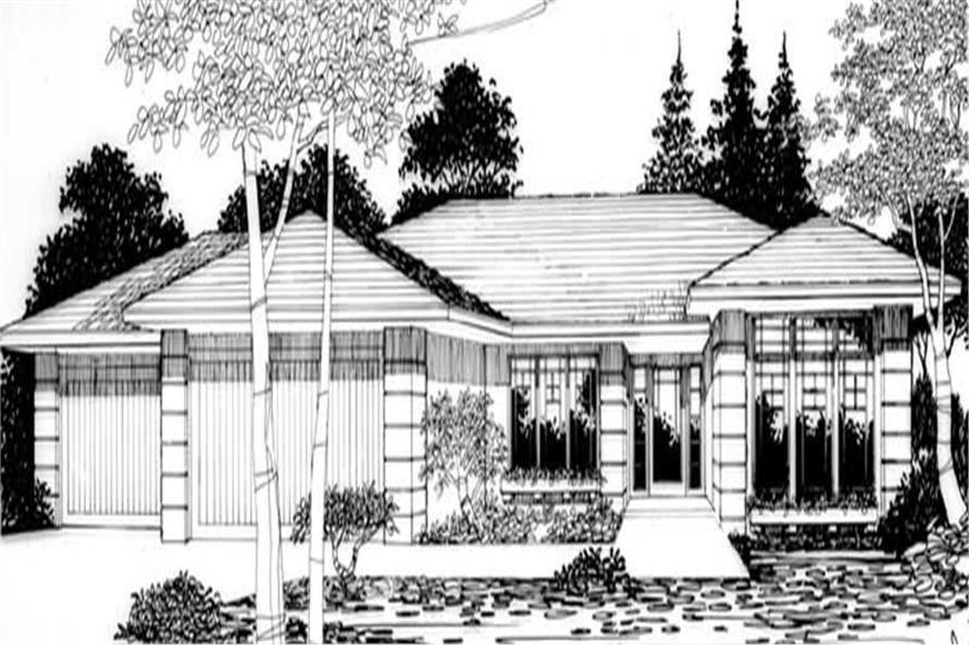 Front elevation of Feng Shui home (ThePlanCollection: House Plan #149-1403)