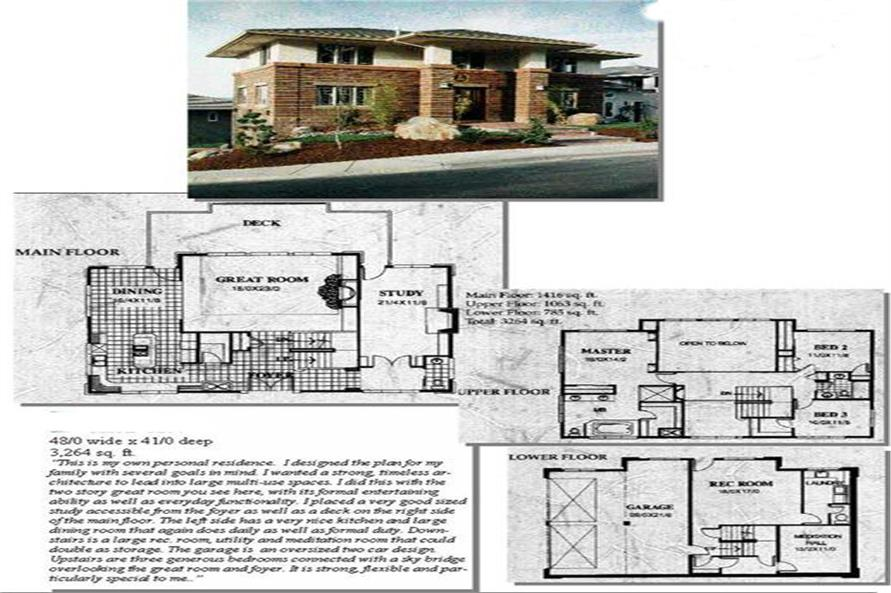 4-Bedroom, 3264 Sq Ft Feng Shui Home Plan - 149-1424 - Main Exterior