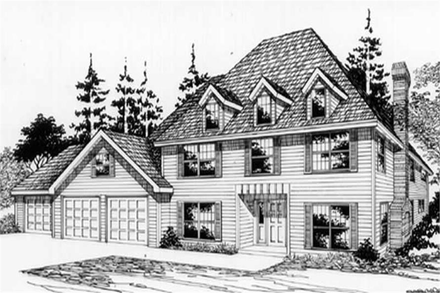 Main Elevation of this 4-Bedroom,3009 Sq Ft Plan -3009