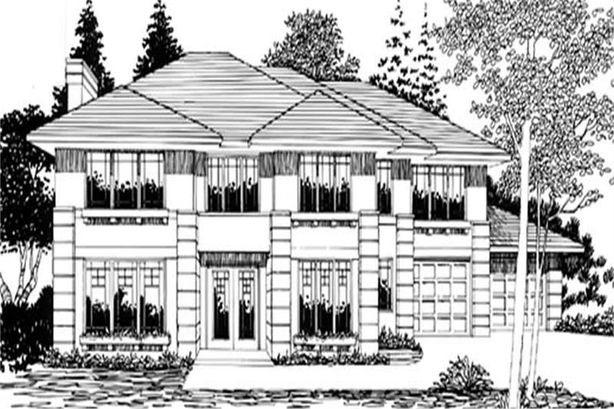 Main Elevation of this 4-Bedroom,3448 Sq Ft Plan -3448
