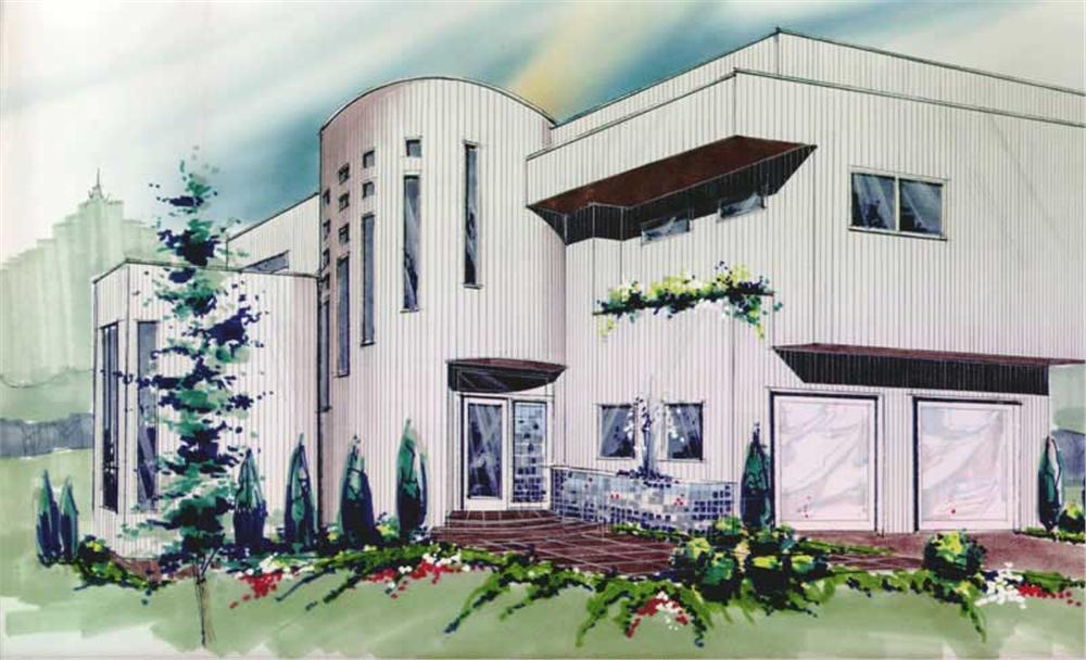 Front elevation of Contemporary home (ThePlanCollection: House Plan #149-1455)