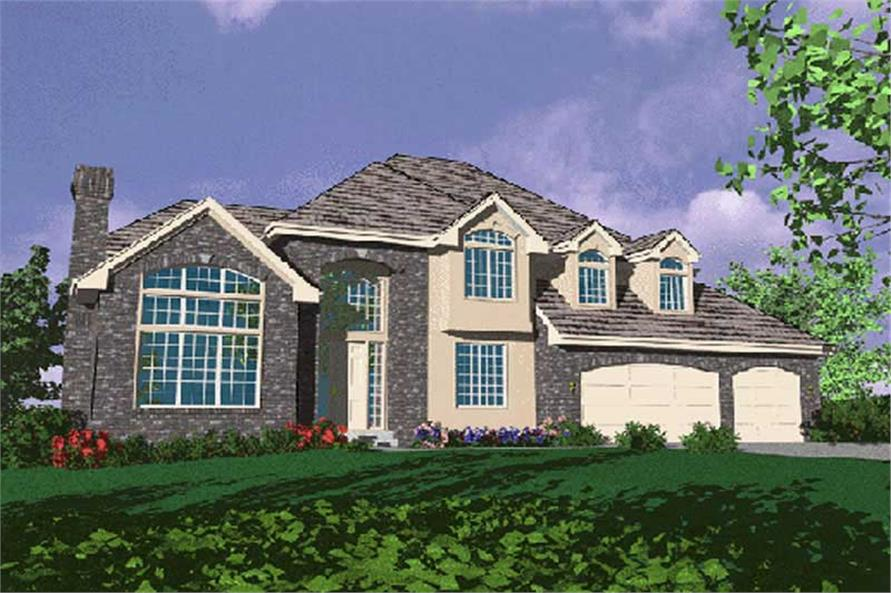4-Bedroom, 3389 Sq Ft French Home Plan - 149-1464 - Main Exterior