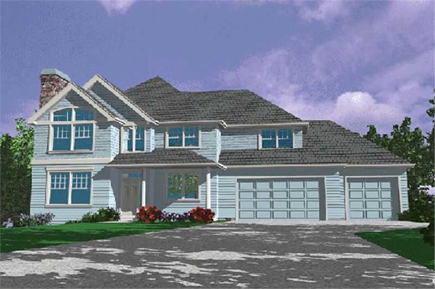 4-Bedroom, 3127 Sq Ft Country Home Plan - 149-1466 - Main Exterior
