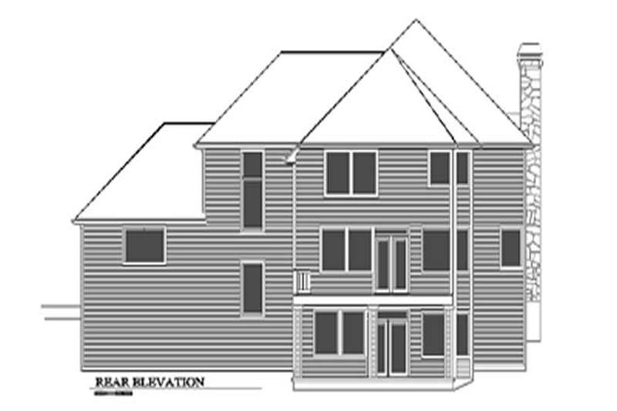 Home Plan Rear Elevation of this 4-Bedroom,3127 Sq Ft Plan -149-1466