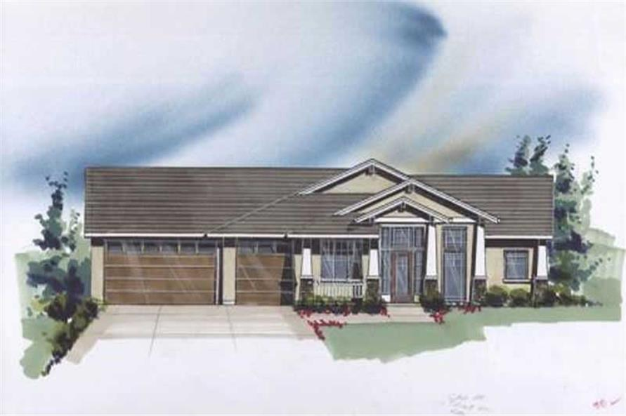 Color rendering of Ranch home plan (ThePlanCollection: House Plan #149-1473)