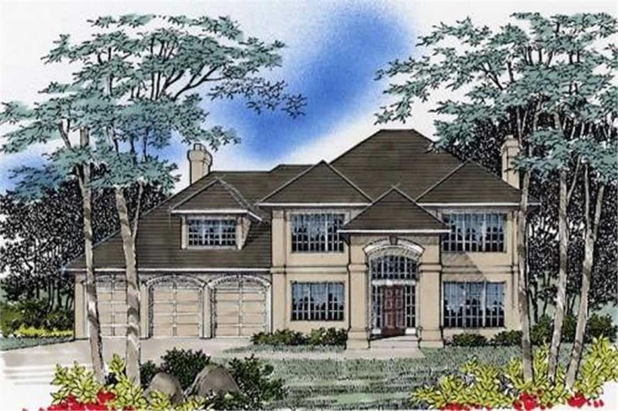 4-Bedroom, 2684 Sq Ft European Home Plan - 149-1487 - Main Exterior