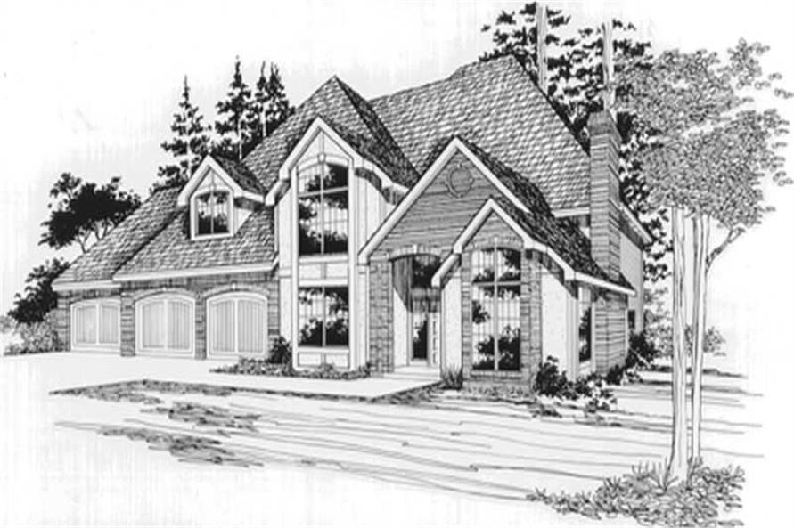 Main Elevation of this 4-Bedroom,3183 Sq Ft Plan -3183