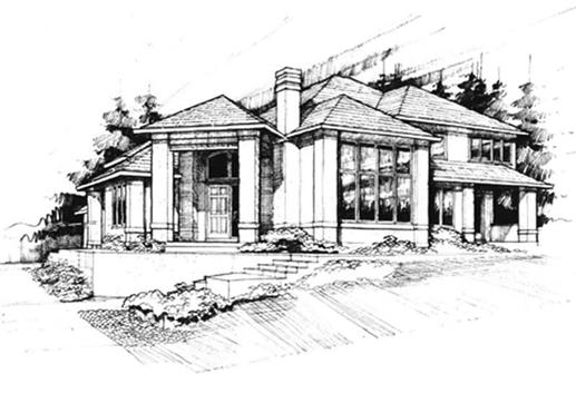 Contemporary homeplans M-3752 front elevation.