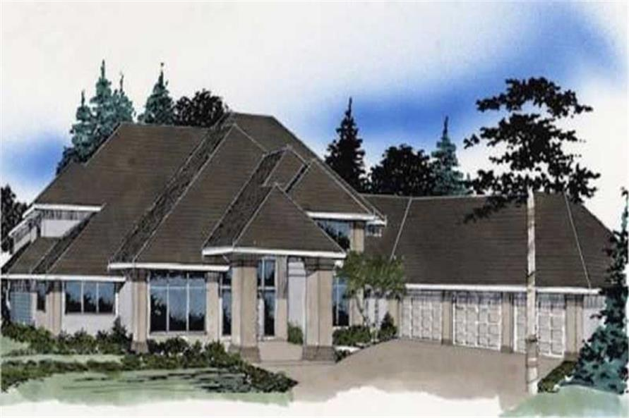 European house plans M-4132 color rendering.