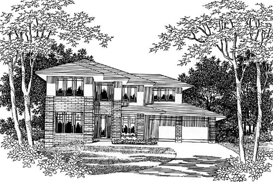4-Bedroom, 2832 Sq Ft Prairie Home Plan - 149-1539 - Main Exterior