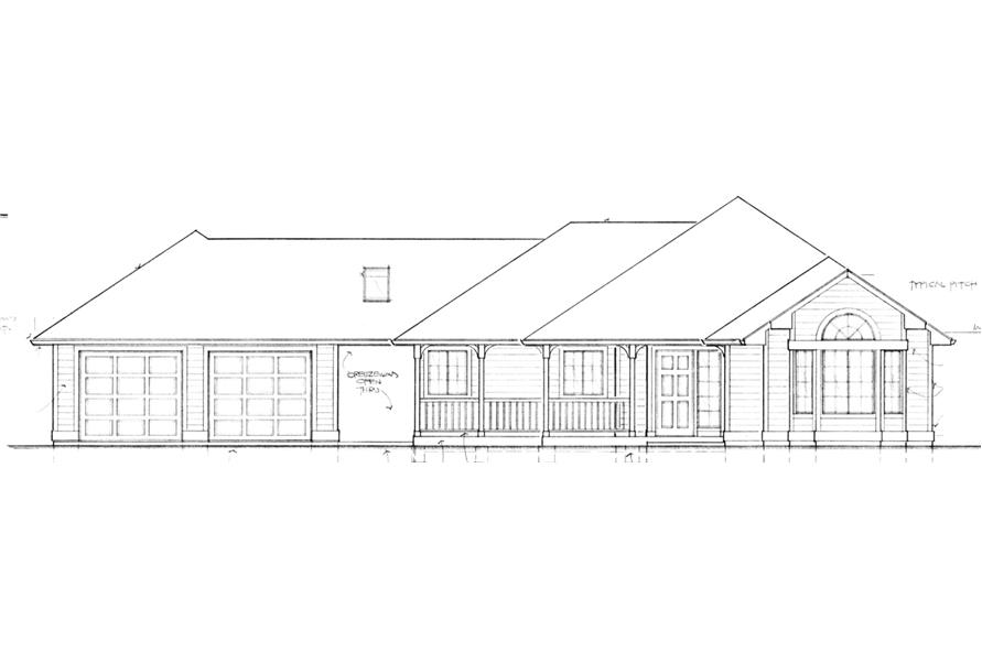 Home Plan Front Elevation of this 2-Bedroom,1247 Sq Ft Plan -149-1551