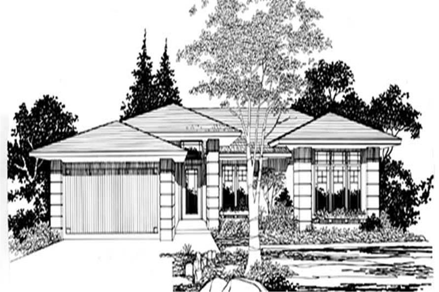 Main Elevation of this 2-Bedroom,1225 Sq Ft Plan -1225