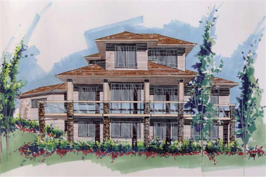 Home Plan Rear Elevation of this 4-Bedroom,2794 Sq Ft Plan -149-1566
