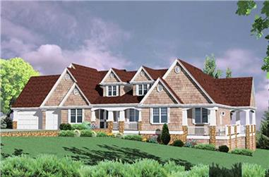 6-Bedroom, 6950 Sq Ft Country Home Plan - 149-1592 - Main Exterior