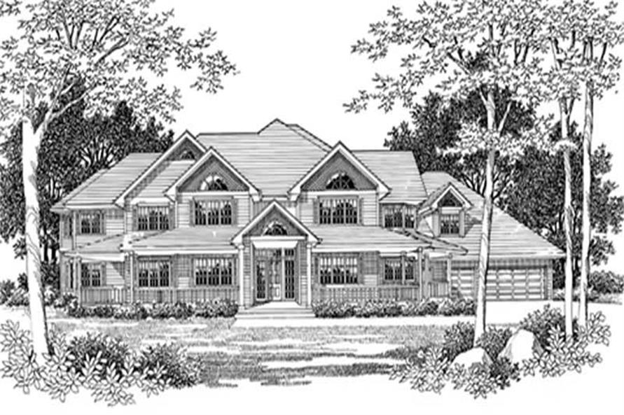Main Elevation of this 4-Bedroom,6935 Sq Ft Plan -6935