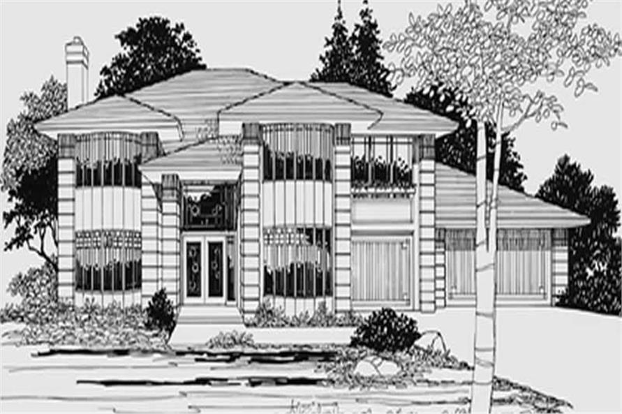 4-Bedroom, 2916 Sq Ft Contemporary Home Plan - 149-1617 - Main Exterior