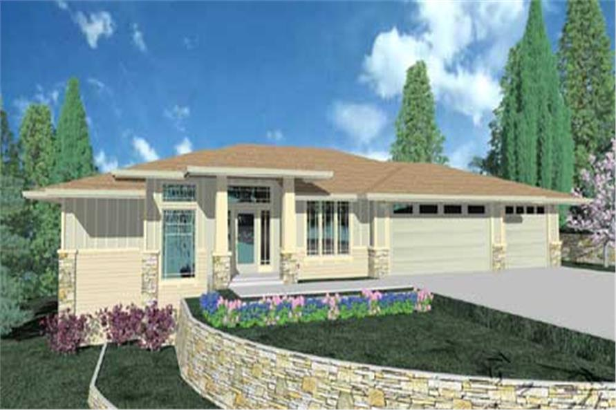 This is the front elevation for these Prairie Home Plans.