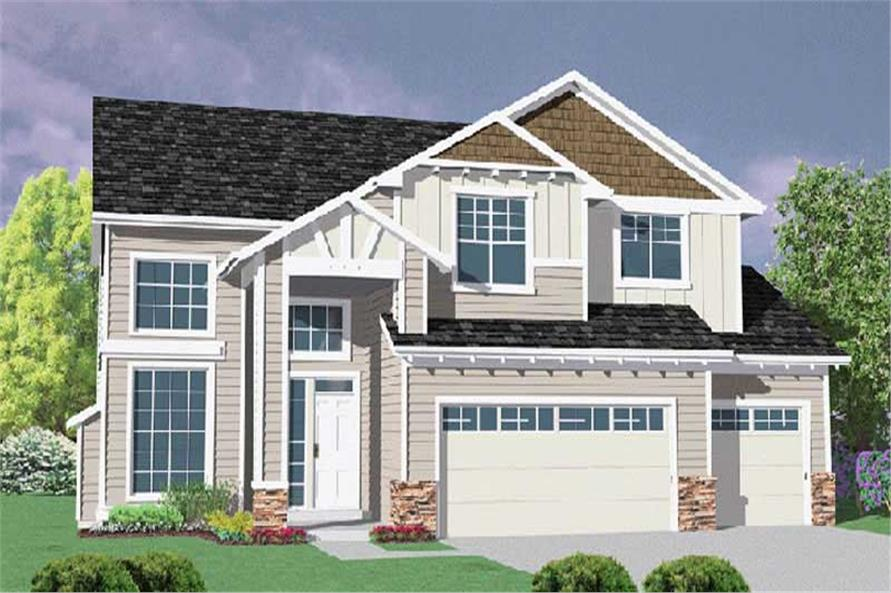 4-Bedroom, 2505 Sq Ft Transitional House Plan - 149-1673 - Front Exterior