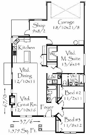Craftsman house plans home design m 1579 for 1700 square foot craftsman house plans