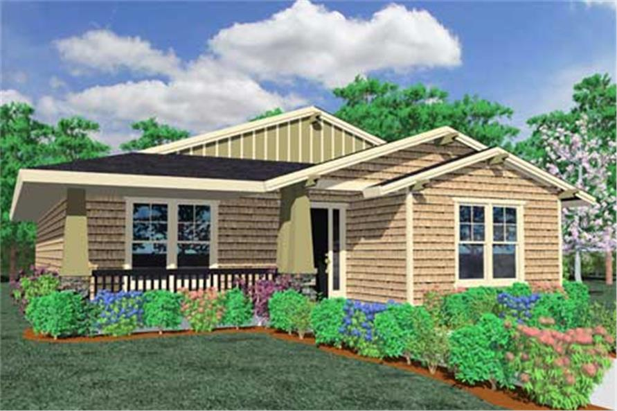 This is a front elevation for these Craftsman House Plans.