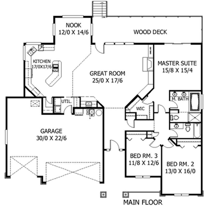 Craftsman feng shui ranch house plans 2629 for Garage feng shui