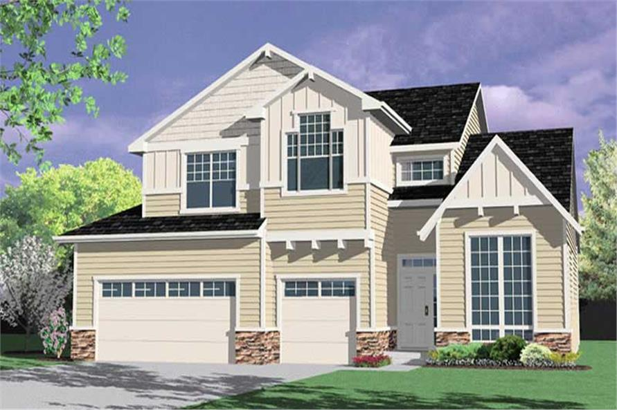 4-Bedroom, 2241 Sq Ft Craftsman House Plan - 149-1734 - Front Exterior