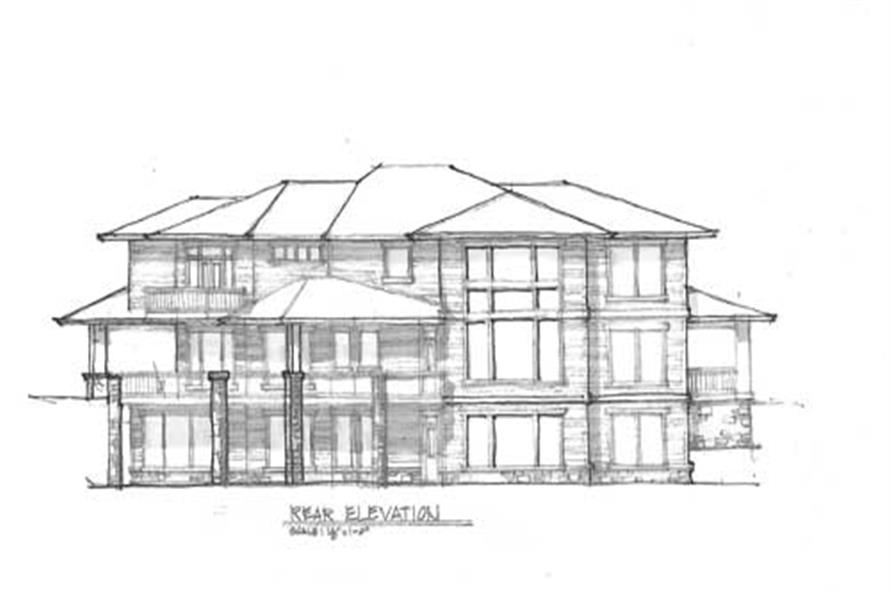 Home Plan Rear Elevation of this 5-Bedroom,4506 Sq Ft Plan -149-1735