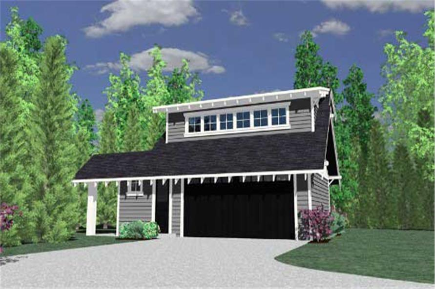 1-Bedroom, 525 Sq Ft Garage w/Apartments Home Plan - 149-1747 - Main Exterior