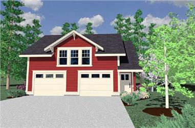 1-Bedroom, 675 Sq Ft Garage w/Apartments Home Plan - 149-1748 - Main Exterior