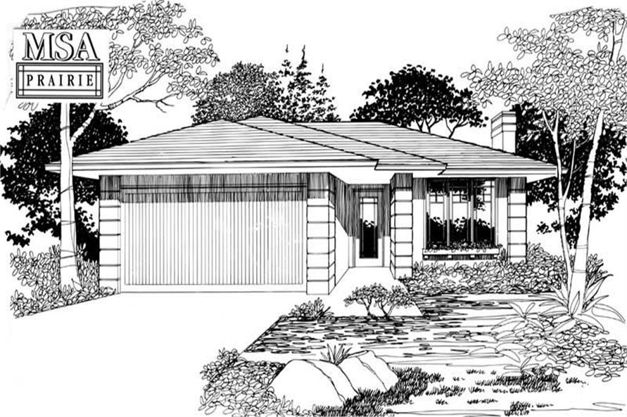 Main Elevation of this 3-Bedroom,1092 Sq Ft Plan -1092
